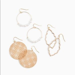 Gold tone faux set of 3 Earrings